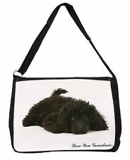 Miniature Poodle 'Love You Grandma' Large Black Laptop Shoulder Ba, AD-POD9lygSB