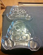 Clear Plastic Cookie Candy Nut Serving Tray Dish Santa Claus - pair