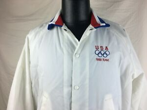 Vintage Pla-Jac by Dunbrooke USA 1988 Olympic Team Size 44-L-46 White Jacket
