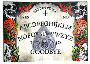 A4 Hand Finished Rest in Peace Ouija Board with Skull Planchette, Headstone