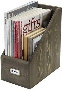 MyGift Vintage Gray Wood Document File Organizer Magazine Rack with Label Holder