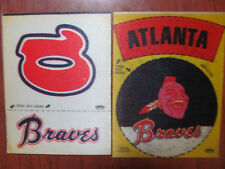2 45-Yr.Old Fleer MLB Cloth Team Stickers from the 1970's ATLANTA BRAVES