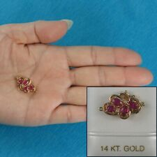 14K Solid Yellow Gold Genuine Natural Red Ruby with Diamond Clasp TPJ