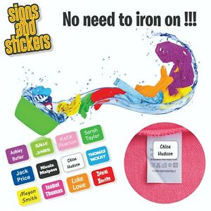Stick On Name Labels for Clothes Clothing Stickers - NONE IRON - easy to apply 4
