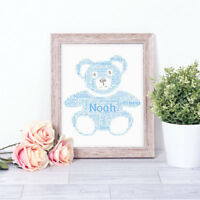 Personalised TEDDY Word Art Print Typography Gift Stocking Filler BLUE Baby Boy
