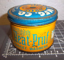 vintage Crest Heat Pruf faucet washer tin, great colors & graphics, some left