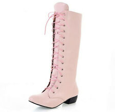 Fashion Women Side Zip Lace Up Knight Riding Military Knee High Boots Shoes A295