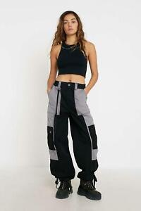 Urban Outfitters BDG Billy Taped Wide-Leg Trousers BLACK / GREY XL New BNWT £55