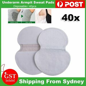 40pcs Underarm Armpit Sweat Pads Stickers Summer Shield Guard Absorbing White AU