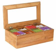 Bamboo Tea Storage Box with Lid Chest Wooden Organizer Kitchen Bags Compartments