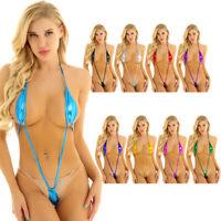 Women Metallic Halter Backless Micro Thong Slingshot Bikini Monokini Swimwear