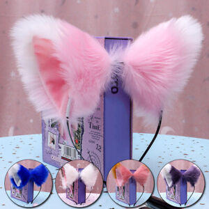 Cat Fox Ears Long Fur Headband Anime Cosplay Party Costume Orecchiette Decor