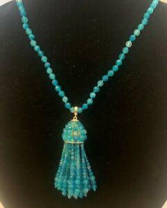 NWT Kendra Scott Sylvia Long Pendant Statement Turquoise Gold MSRP $195