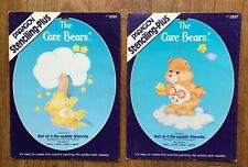 Lot of 2 Vintage 1985 Care Bears Re-usable Stencil Kit Use on Fabric Wood Paper