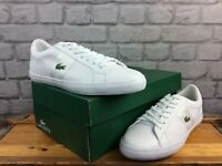 LACOSTE MENS UK 9 EU 43 LEROND 119 WHITE LEATHER TRAINERS RRP £ 75   EP