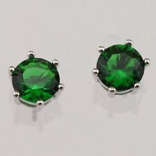 Nice New White Gold Filled 7mm Round 6 Prong Set Emerald Green CZ Stud Earrings