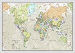 Large Map of the World Laminated Wall Poster with Political Geographical Detail