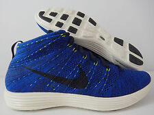 NIKE LUNAR FLYKNIT CHUKKA DARK OBSIDIAN-GAME ROYAL BLUE SZ 9.5 [554969-444]