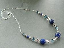 Lapis Lazuli, Swarovski Crystal & Tibetan Dragonflies & Sterling Silver Necklace