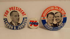 PRESIDENTS  FORD, ,JOHNSON & REAGAN WITH  VP BUSH PIN BACK BUTTONS