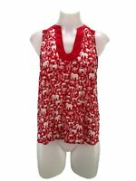 Maeve Anthropologie Women's Size 2 Tank Top Red Sleeveless Animal Print Blouse