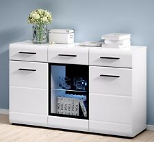WHITE GLOSS Sideboard LED Display Cabinet Dresser Buffet Cupboard Fever Black