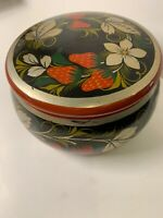 Vtg Wooden Handpainted Round Trinket Box Wood Strawberries Flowers Bohemian Folk