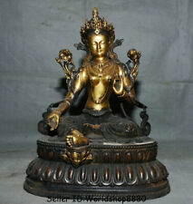 """12.8"""" Tibet Buddhism Purple Bronze Gilt Green Tara enlightenment Goddess Statue"""