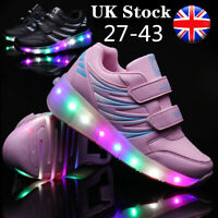 LED Light Up Boys Girls Luminous Sneakers Kids Children Casual Trainers Shoes UK