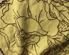 VTG HAND EMBROIDERED Square GWTW Table Cloth Cover Yellow