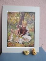 vintage Clara Burd  illustration of boy and rabbits 1928
