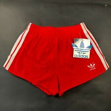 Vintage 90s NWT Adidas Trefoil Mens S (28-30) Red White Striped Running Shorts