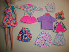 Lot of 9 Barbie Doll Clothes 2 Dress 3 Skirt 3 Top 1 Shorts Black Purple Labels