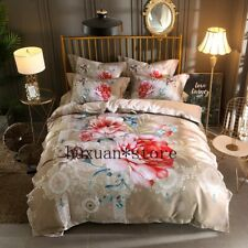 Luxury Silk Cotton Jacquard Classical Flower Bedding Set Printing Queen King 4pc
