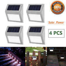 4 X Solar Powered LED Stainless Steel Fence&Path Light Outdoor Garden Step Wall
