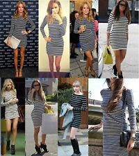 Petite Striped Long Sleeve Casual Dresses for Women