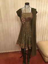 Ladies Beautiful Crystal Embroidered Green Indian Bollywood Dress Suit - Size 10