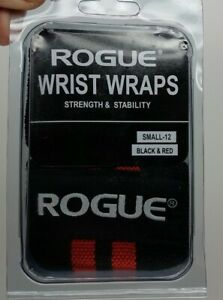 """Rogue Fitness Wrist Wraps PAIR SMALL 12"""" Black Red Power Weightlifting Exercise"""