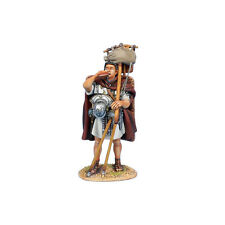 First Legion: ROM175b Roman Legionary Drinking - Covered Shield - White Tunic