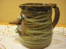 """Large Hand Crafted Funny Face Pitcher, 5 1/2"""", Signed"""