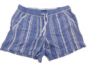 "Nautica Women's Medium Shorts Linen Blue & White Striped Pull On 5"" Inseam"