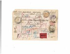 Austria 1899 parcel card Bistritz Bystrice Oderberg Bohumin Brussel gulden lilac
