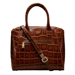 Osprey London Croc Women's Handbag, Leather with 2 Slip Pockets in Cognac