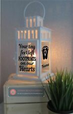Vinyl Sticker Lantern - Your tiny feet left footprints on our Hearts BABY/CHILD