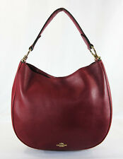 COACH 36026 Nomad Black Cherry Glovetanned Leather Hobo Shoulder Bag Msrp$495.