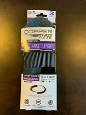 Copper Fit Sport Ankle Socks 3 Pair Size S/M Men 5-9 Women 6-10