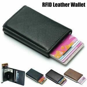 Black Credit Card Holder PU Leather RFID Blocking Foldable Wallet Money Clips
