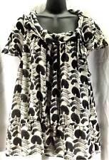 Nine West Top Blouse Womens Plus Size 2X Beige Black Geometric R945