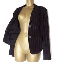 ESCADA Jacket Size 44 XL UK 18 Womens Black Wool Blazer Striped Coat Evening Pop