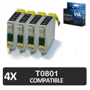 4x Black Ink Cartridges for Epson Stylus Photo P50, Px720wd, Px830fwd